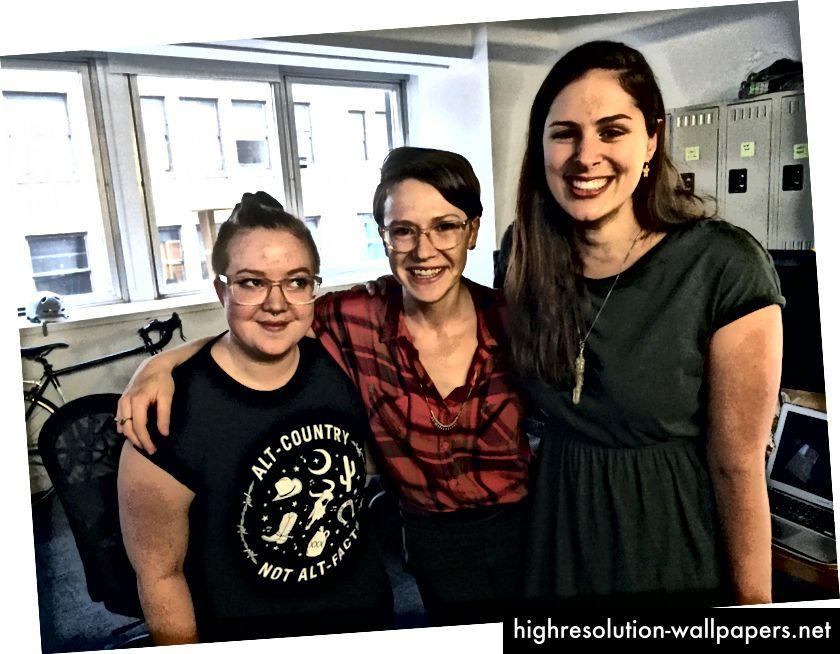 Team Align: Sara Kladky (til venstre), Melanie Mohn (center) og mig selv.