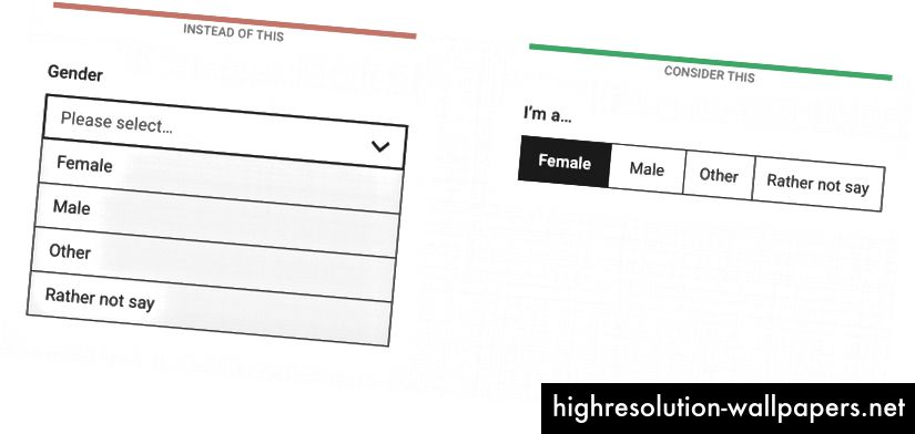 Ο αριθμός των ορατών επιλογών εξαρτάται από το πλάτος της οθόνης και το μήκος των ετικετών επιλογών, αλλά δεν συνιστάται η χρήση περισσότερων από 5 στοιχείων