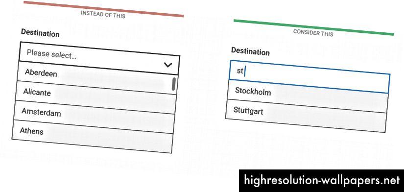 I stedet for at rulle gennem listen, lad brugerne begynde at skrive og kun vise de filtrerede indstillinger