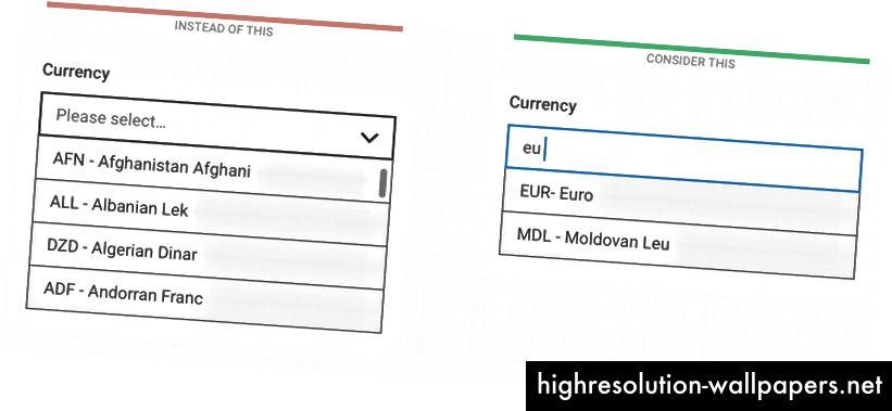 Sorteringsordren for valutaer kan være uklar for brugerne, så sørg for, at de også kan søge i navn og valutakode