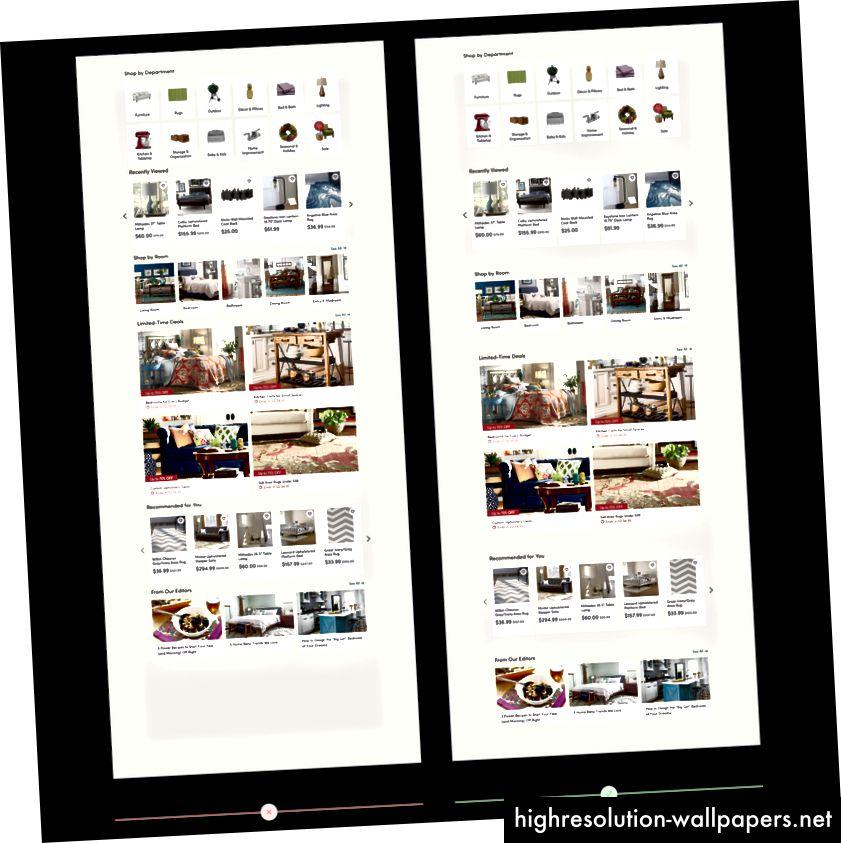 El espacio en blanco define claramente las diferentes secciones en la página de inicio de Wayfair