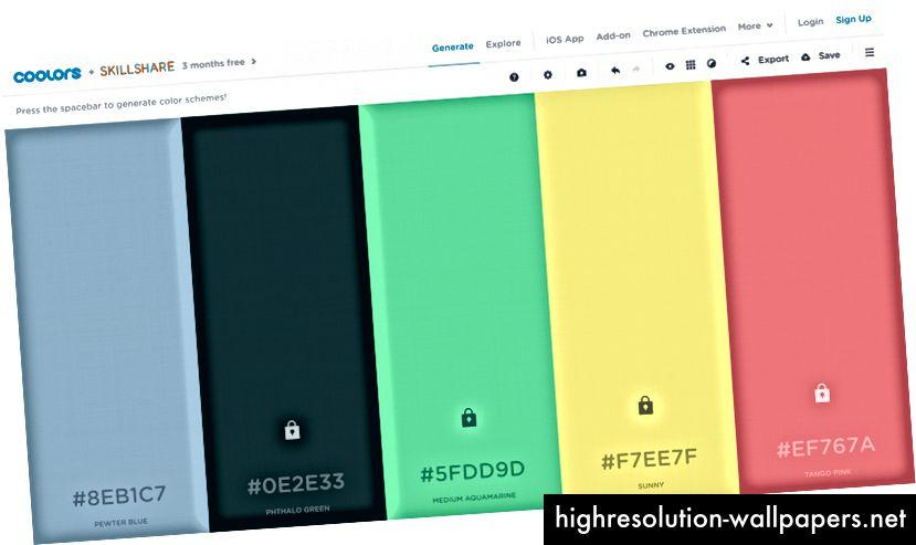 Видите хороший цвет «Успех»? Зафиксируйте его. Продолжайте, пока не найдете цвета для каждого из 5 основных цветов. (см. эту палитру)