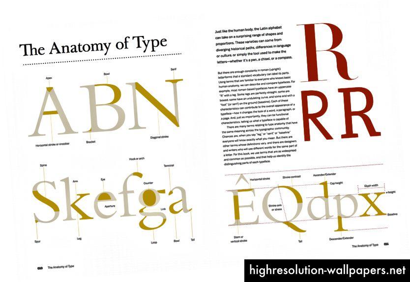 """""""Anatomi af type"""" - En grafisk guide til 100 skrifttyper af Stephen Coles. En dejlig bog, hvis du vil lære om historien og designdetaljerne i populære skrifttyper."""