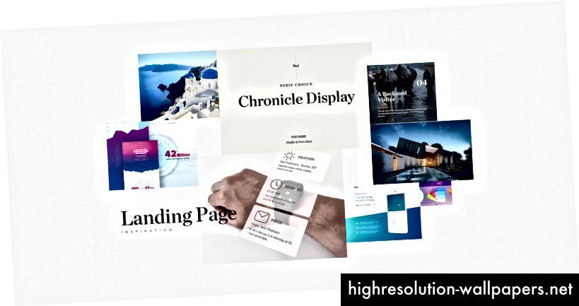 Moodboard Chronicle Display -näytöllä ja kirkkain sinisillä väreillä