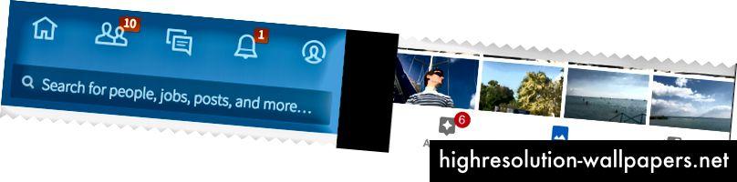 Faner med kun ikoner på LinkedIn og faner med ikon + etiket på Google Fotos