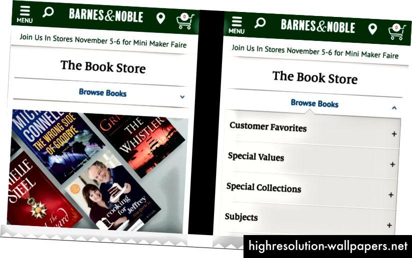 Når du gennemsøger bøger, er den aktuelle kategori og indstillingerne for navigation / filtrering altid tilgængelige i en rullemenu på bn.com