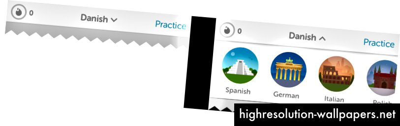 Selvom det ikke er en almindelig interaktion for de fleste brugere, giver Duolingo mulighed for hurtigt at skifte mellem de sprog, du praktiserer via en dropdown