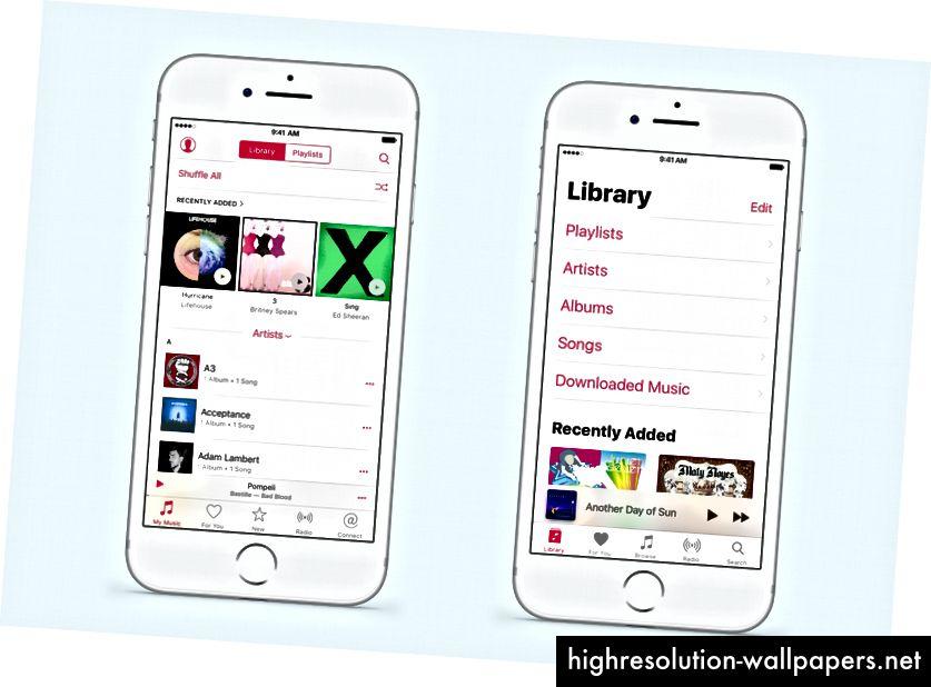 Apple Music muuttuu iOS 9: stä (vasen) iOS 10: ään (oikealle). Selauspalkin poistaminen antoi ensisijaisen näkymän etiketin koon kasvaa. Nätti.