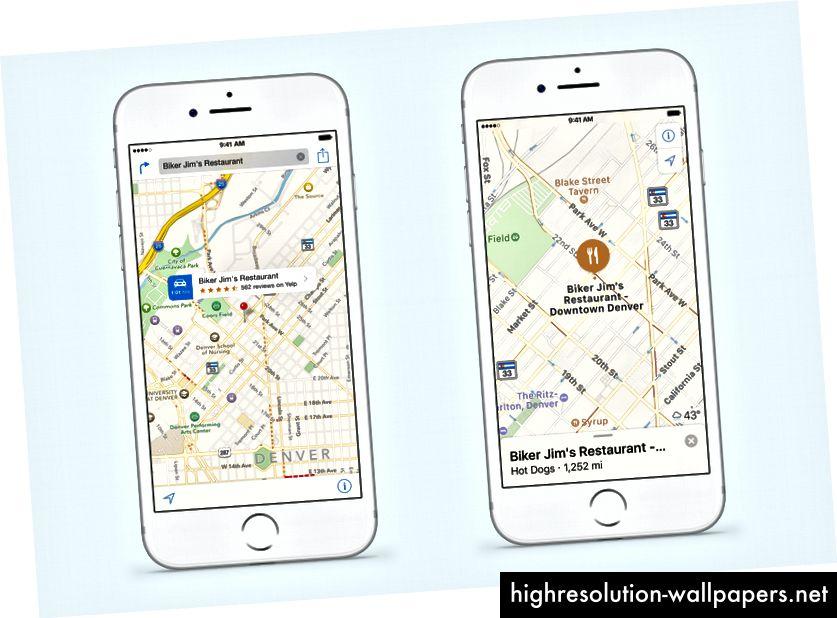 Apple Maps cambia de iOS 9 (izquierda) a iOS 10 (derecha). La interfaz de usuario está casi completamente invertida. La configuración del mapa y el bloqueo a la ubicación actual son más difíciles de alcanzar, mientras que la búsqueda y los resultados tienen prioridad.