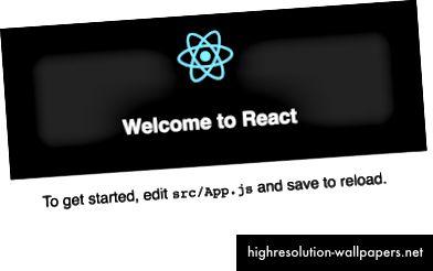 Standardsiden, som oprettes-reager-app udsættes for.