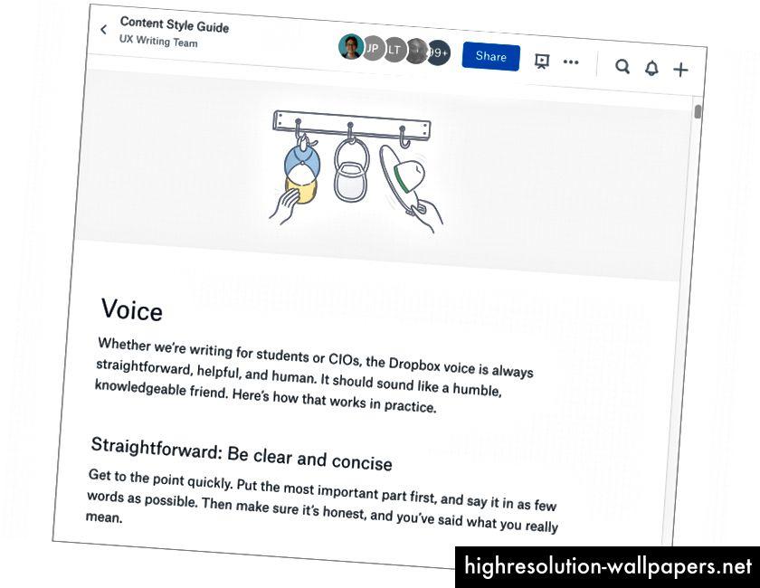 Vores stilguide hjælper os med at bruge konsistent sprog i hele Dropbox.