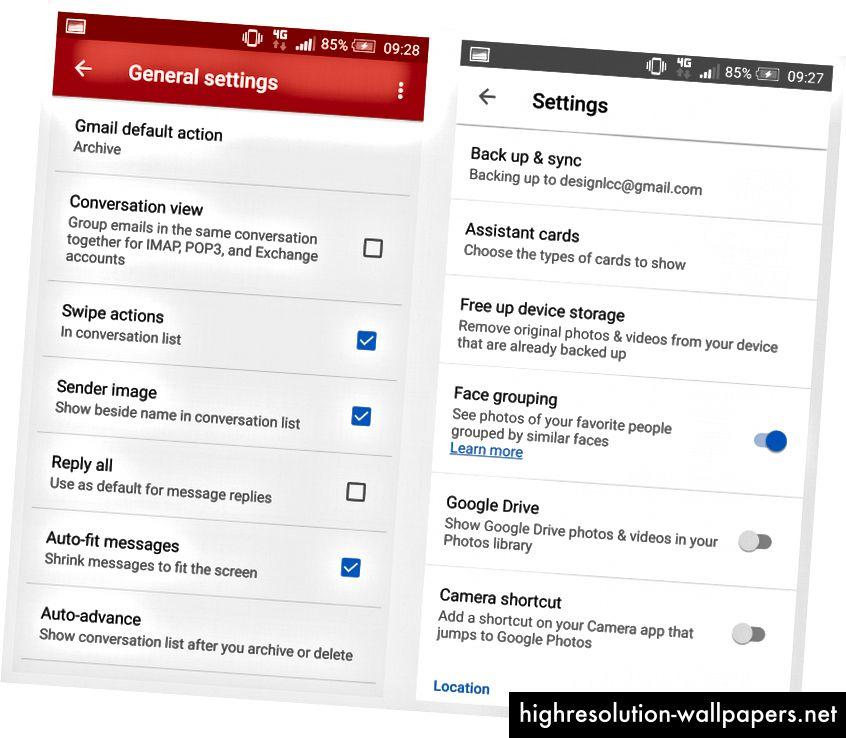 Android-indstillinger til og fra: Gmail bruger afkrydsningsfelter, men Fotos bruger afbryderknapper