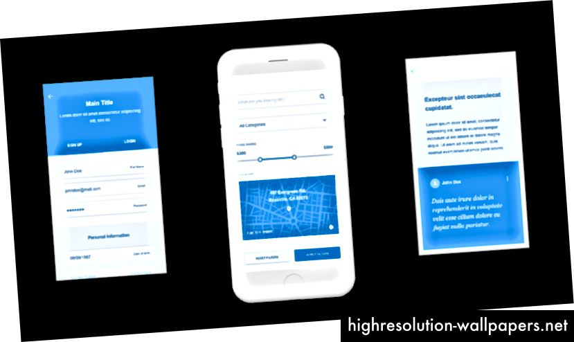 Пример за телени рамки за мобилно приложение. Изтеглете проводници, два безплатни UX комплекта с проводници за мобилни устройства и уеб, създадени за Adobe XD.