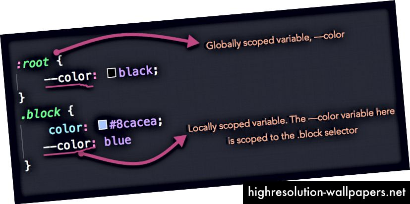Lokale og verdensomspændende scoped variabler