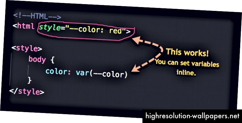 Establecer variables en línea