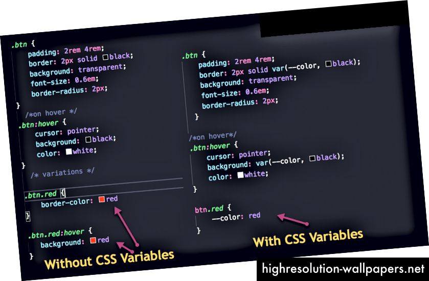 Sin variables CSS VS con variables CSS