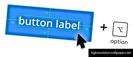 la distancia se calcula desde los bordes del botón hasta el cuadro delimitador del texto.
