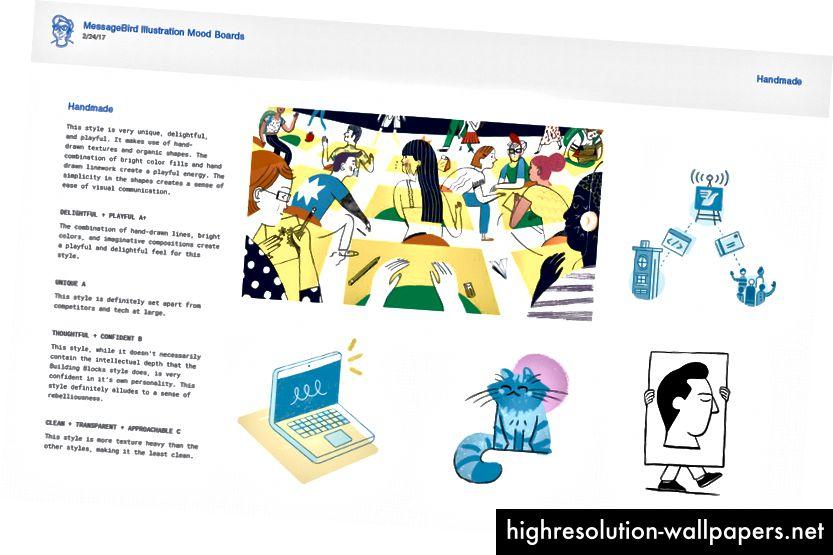 MessageBird Mood Board (illustrationer: øverste venstre Julianna Brion, øverst til højre Hannah Swann, nederst til venstre Hannah Swann, nederste midtre Ryan Putnam, nederst til højre Chris Delerenzo