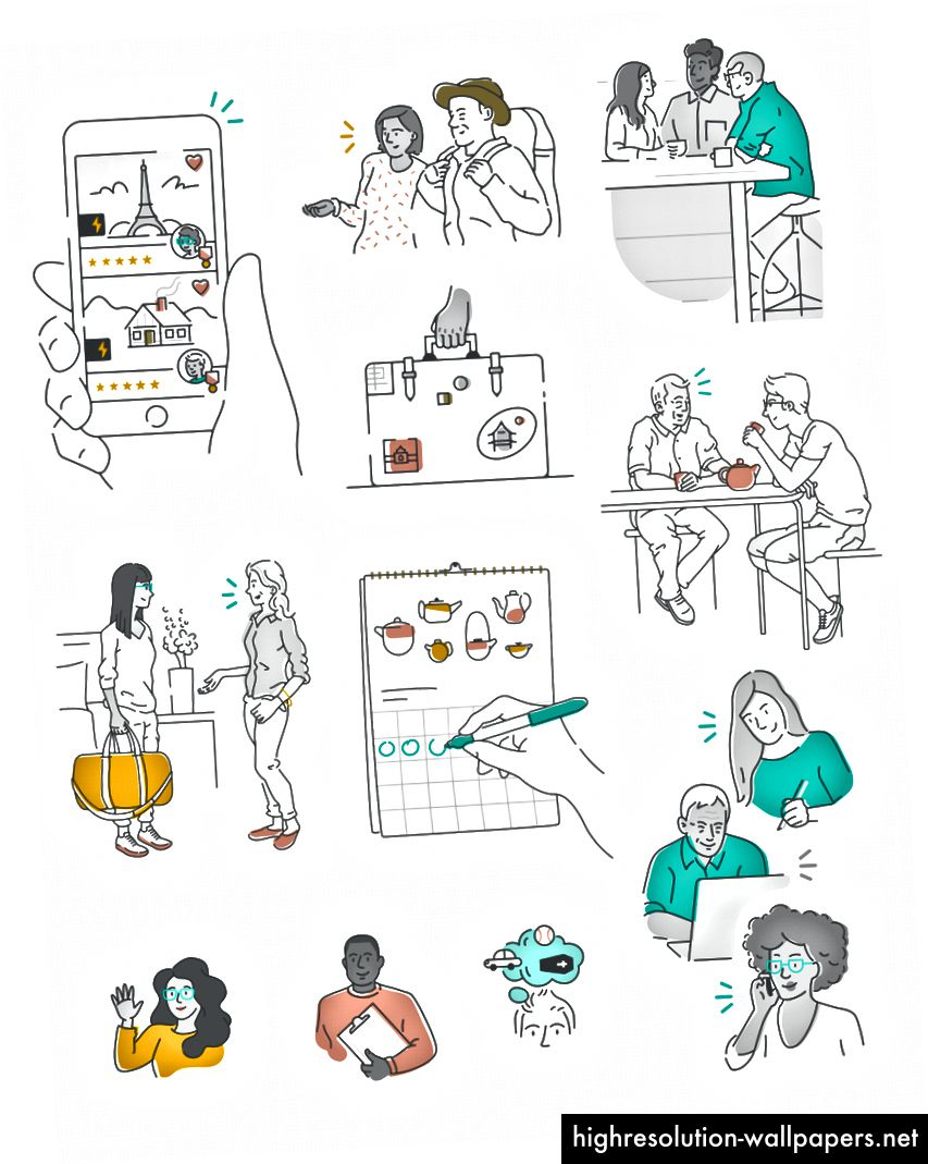 Airbnb-bibliotek med illustrationer