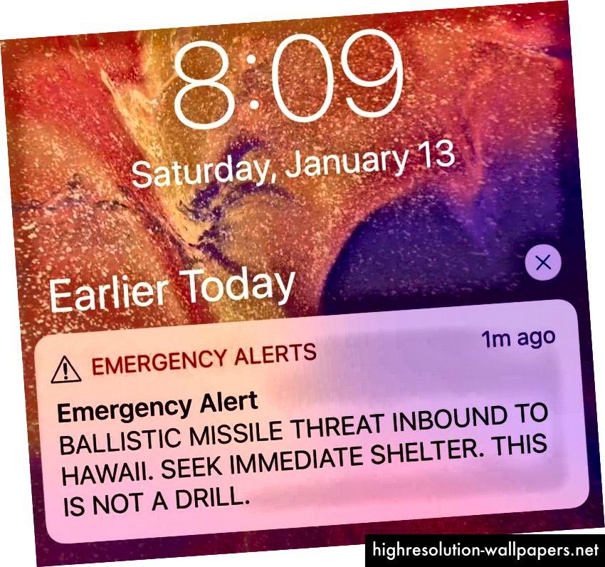El mensaje que apareció en cada teléfono celular en Hawai.