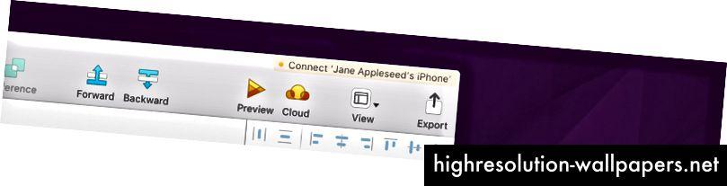 Sketch Mirror, en iOS-modpart-app, til forhåndsvisning af design og prototyper via Wi-Fi ogUSB Lightning-kabel.