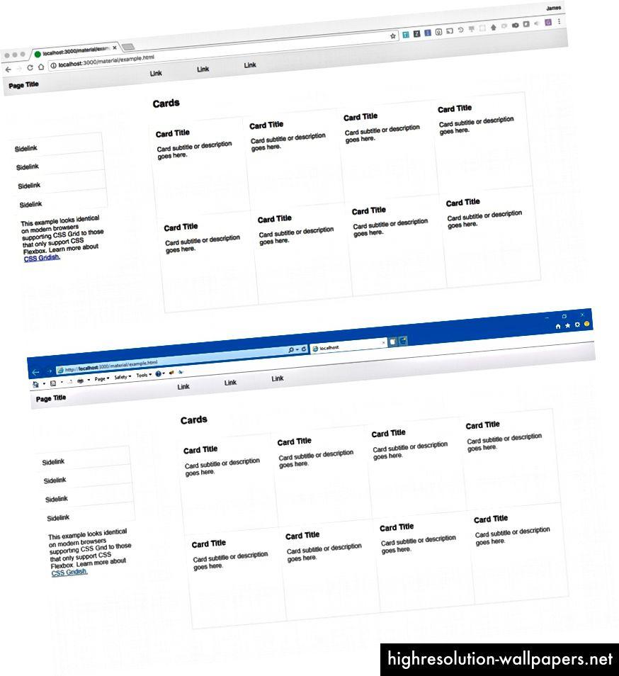 Το κορυφαίο στιγμιότυπο οθόνης είναι η φόρτωση σελίδας στο Chrome χρησιμοποιώντας το CSS Grid. Το κάτω screenshot είναι η ίδια σελίδα στο IE 11 χρησιμοποιώντας το CSS Flexbox. (Πηγή)