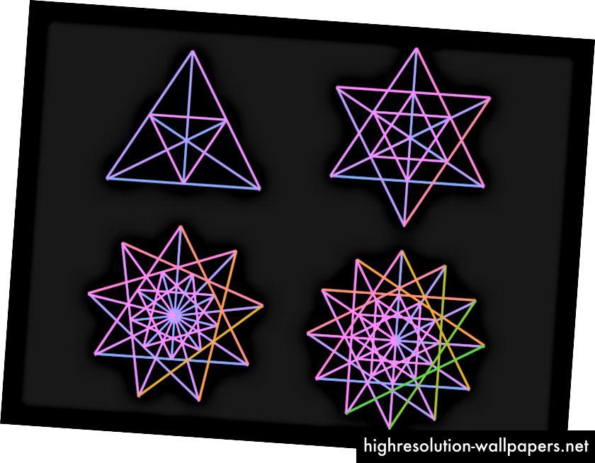 Først øvede jeg forskellige former baseret på trekant.