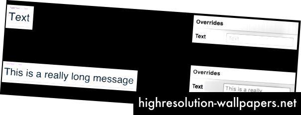 Mængden af tekst i symbolet bestemmer, hvor stor en tekstboks du får i panelet for tilsidesættelse.
