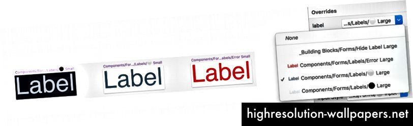 Forskellige farvede etiketter i samme størrelse gør det nemt for vores designere at vælge blandt de tilladte farver til noget som formularetiketter.
