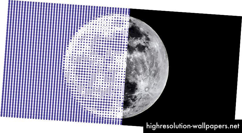 En fotomosaisk måne lavet med vores Kalejdoskopdemo