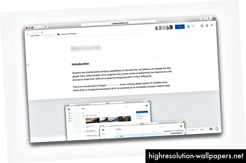 Et skærmbillede af Papir-dokumentet med kodenavnet sløret.