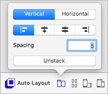 Για να στοιβάξετε τα επίπεδα - επιλέξτε τα και κάντε κλικ στο κουμπί Stack στο πλαίσιο Auto-Layout.