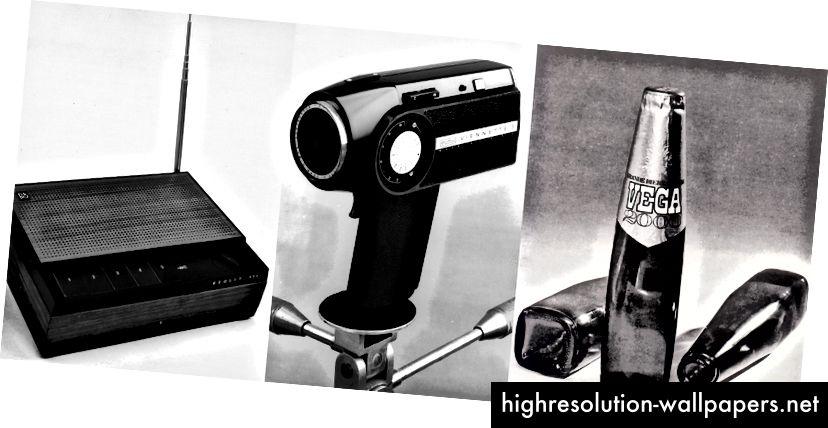 Prisvindende produkter designet af Bryon Fitzpatrick på Bernadotte & Bjørn. Fra venstre til højre: Bang & Olufsen Beolit 500, Eumig Vienette 8mm kamera og Vega 2000 ølflaske.