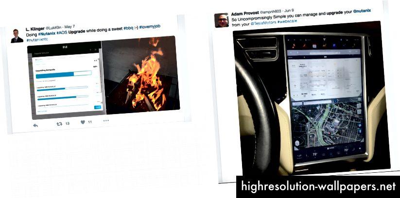 Η αντίδραση στο Twitter μετά την εγκατάσταση ενός κλικ δείχνει πόσα άτομα νομιμοποιούν το Nutanix και πόσο ευκολότερη είναι η εργασία τους χάρη στην εμπειρία τους χωρίς τριβή