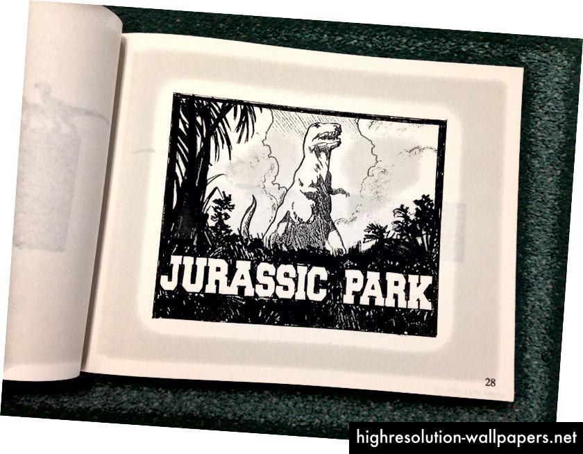 Iz velike knjige Jurskog parka logotipi stvoreni za film koji su ostali neiskorišteni