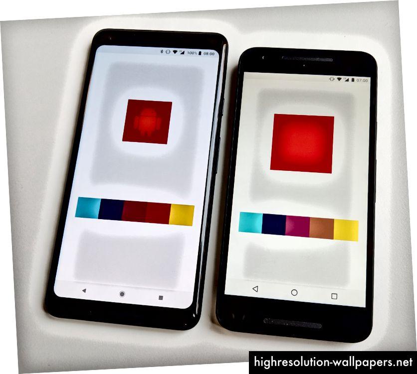 Anna eri värejä käytettäväksi värien tarkkuudessa (vasen) ja vanhemmissa laitteissa