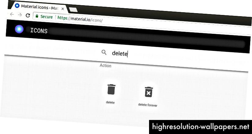 Google tilbyder to varianter af papirkurvikonet,