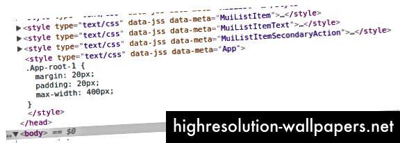 Aha! Her er vores stilarter til app-komponenten.