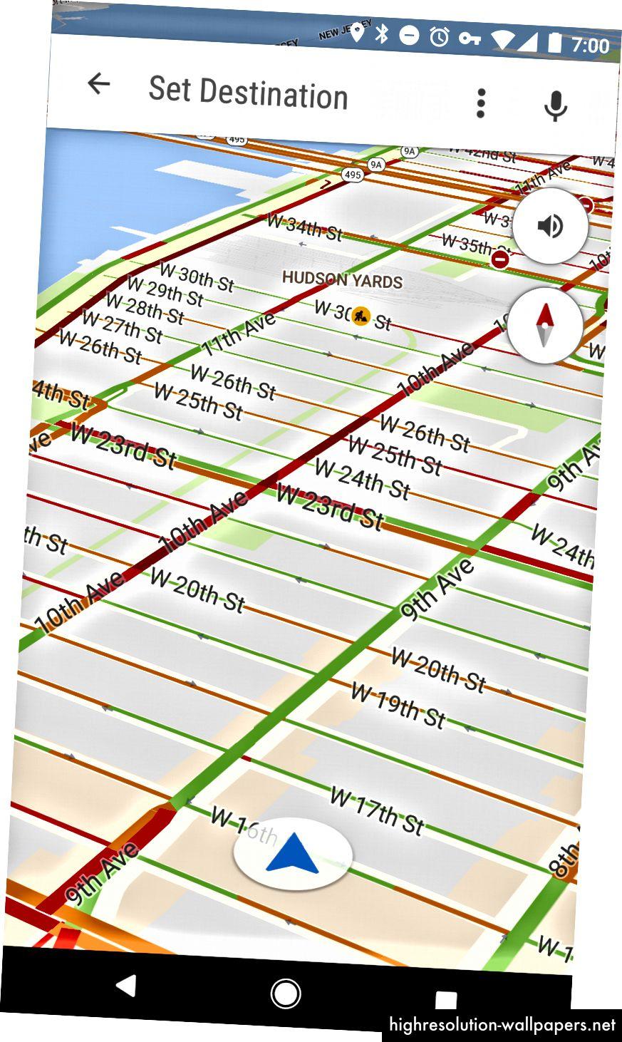 """Входът """"Старт шофиране"""" увеличава основния изглед на карта"""