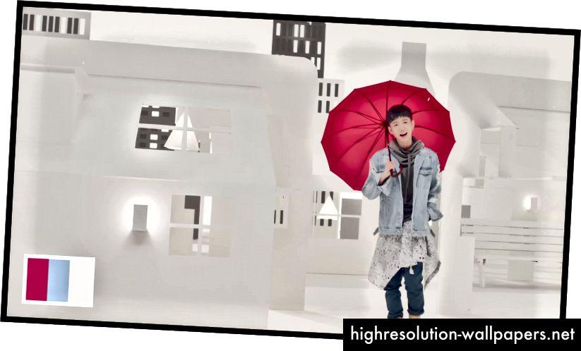 Den røde paraply er den første ting, dit øje ser