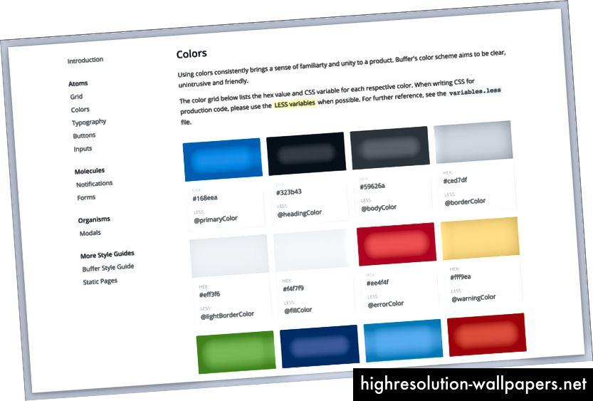 Buffer's farve-styleguide er nyttig for både designere og udviklere.