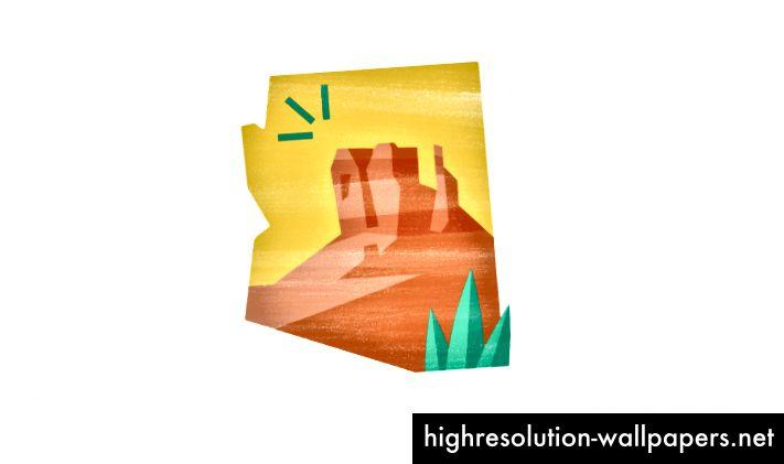 Arizonan siluetti ja sen kuuluisa Monument Valley muodon sisällä.