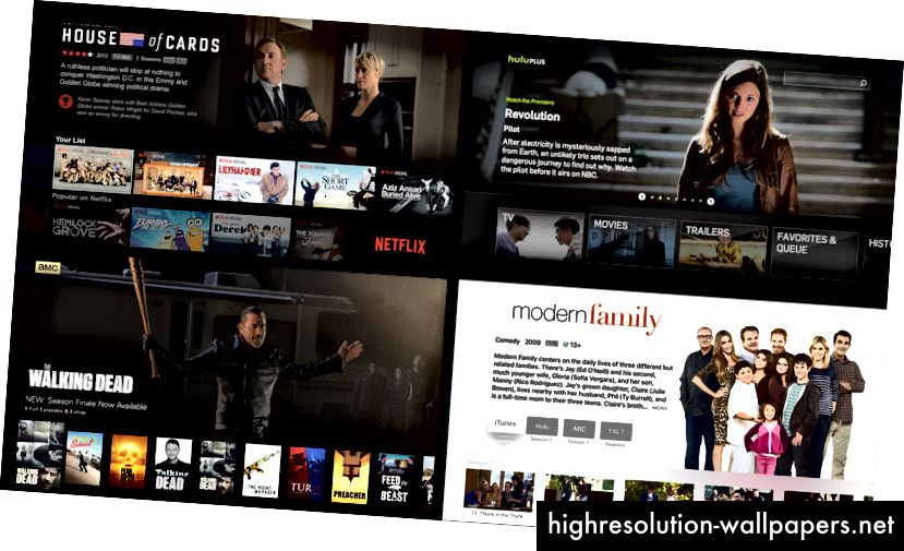 Med uret øverst til venstre: Netflix TV-app, Hulu Plus på Playstation, iTunes Store på Apple TV, AMC på Apple TV