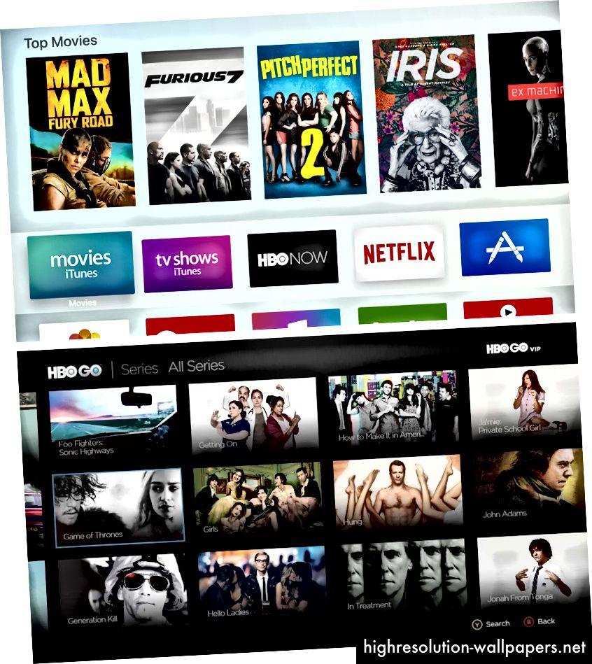Apple TV (øverst) bruger en skygge og z-akseposition til sin markør, mens HBO GO (nederst) bruger et blåt streg