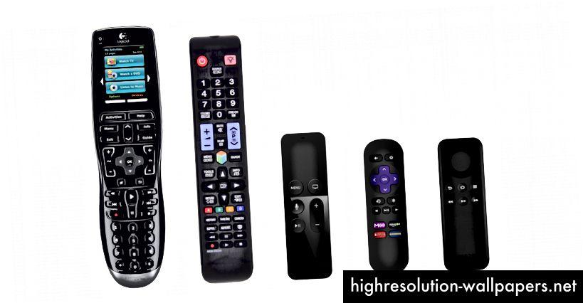 Fra venstre til højre: Logitech Harmony, Samsung Smart TV, Apple TV, Roku, Amazon Fire TV