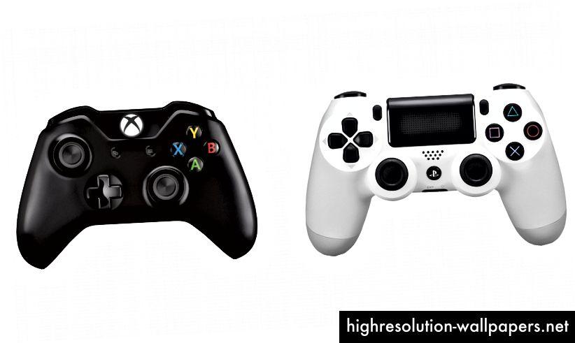 En Xbox One-controller (L) og en Playstation 4-controller (R)