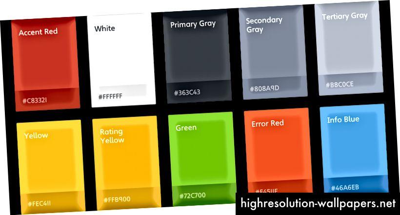 Dette er de farver, vi bruger på Nimber-apperne