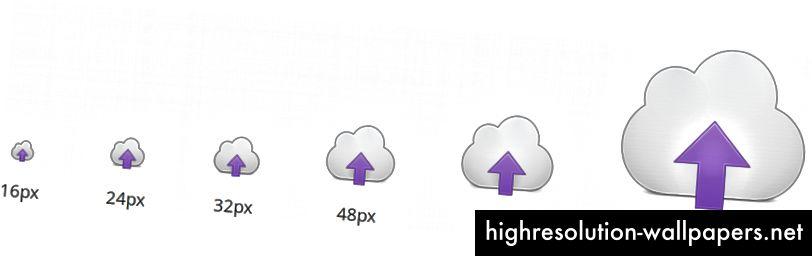 Muchos íconos ahora están completamente insinuados en 6 tamaños