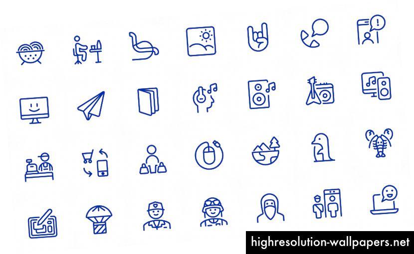 Et par eksempler på de 5.500 nye ikoner tilføjet til Streamline 3.0