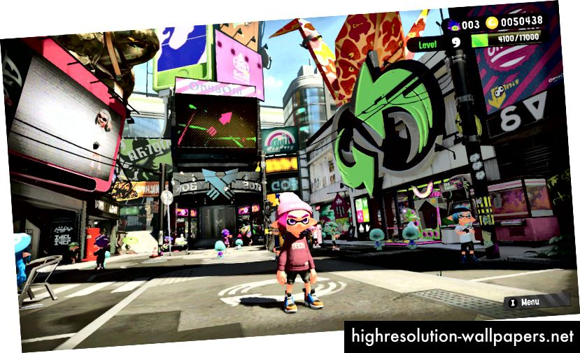 My Squid Kid midt på Inkopolis Square, hovedmenuen i Splatoon 2
